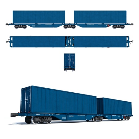 waggon: 3d render illustration isolated on white  Projections and perspective view of the modern blue container twin carriage