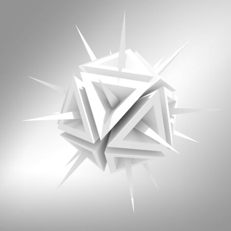 detrimental: Abstract illustration of a virus as a white sharp object with spikes