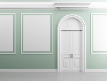 Classical architecture style interior background texture  Light green walls with white design elements and door Stock Photo