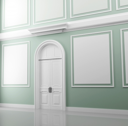 Abstract palace inter fragment with light green walls and white door Stock Photo - 15232773