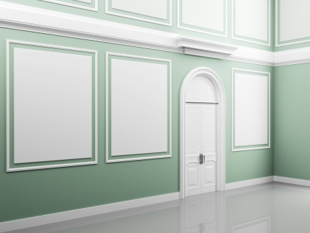 Abstract palace interior with light green walls and white door photo
