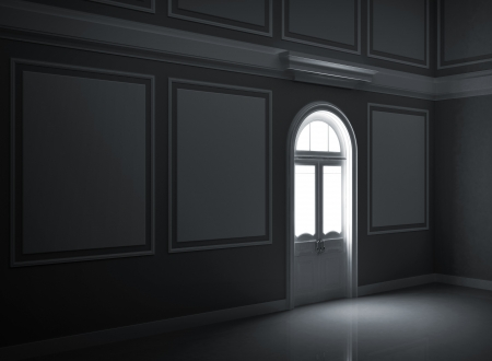 Abstract dark night palace empty room interior with illuminated door photo