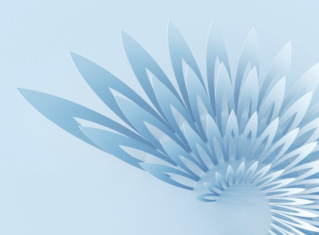 the cochlea: Light blue abstract background with wing-shaped geometric structure Stock Photo
