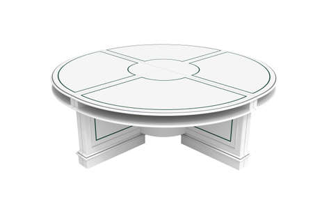 White wooden round table, half-turn isolated on white photo
