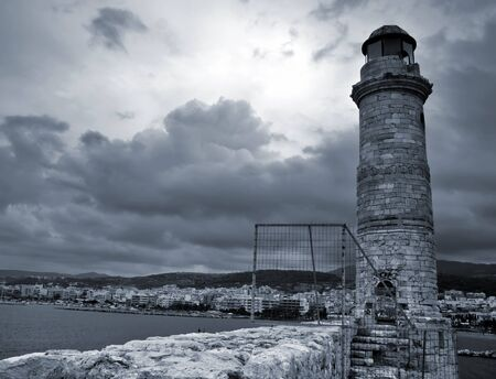 perturbed: Old venetian lighthouse of Rethimno  Island Crete, Greece