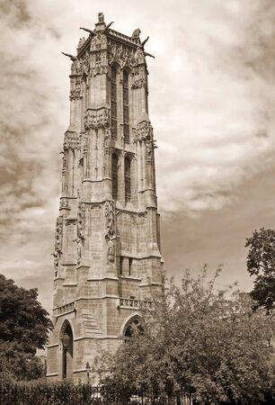 Saint-Jacques Tower, Paris, France  Vintage stylized photo Stock Photo - 15469604