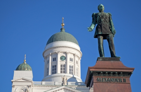 Statue of Russian czar Alexander II against the Cathedral  Senate Square, Helsinki, Finland