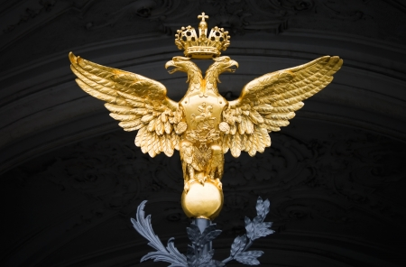 double headed: Double Eagle - Emblem of Russia on the gate of The Winter Palace in Saint-Petersburg Editorial