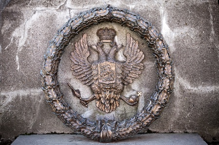 double headed: Double Eagle - Emblem of Russia  Fragment of old monument Editorial