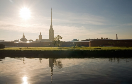 Cathedral in Peter and Paul Fortress - citadel of St  Petersburg, Russia, founded by Peter the Great photo