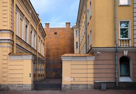 Ordinary closed square of living houses in old part of St Petersburg, Russia photo