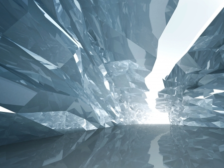 wall mirror: Abstract cool background  Bent crystal corridor with rugged walls and glowing end Stock Photo