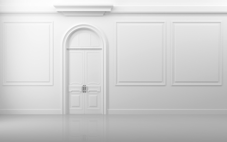 castle interior: Background texture decoration  White interior with closed door and frames