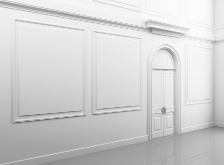 vintage mansion: White classical empty interior with closed door and frames Stock Photo