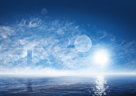 ghostly: Beautiful landscape of fantasy world with foggy ocean, ghostly lighthouse, sun, planets and stars on the deep blue sky