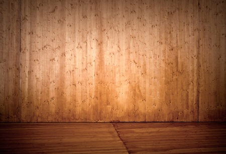 Empty wooden stage interior background photo