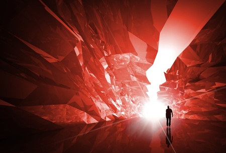 Man walks through the fantasy red crystal corridor with bright glowing end photo