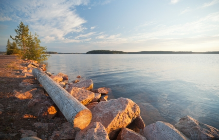 Unattended old log lying on the coast of Saimaa lake in Finland photo