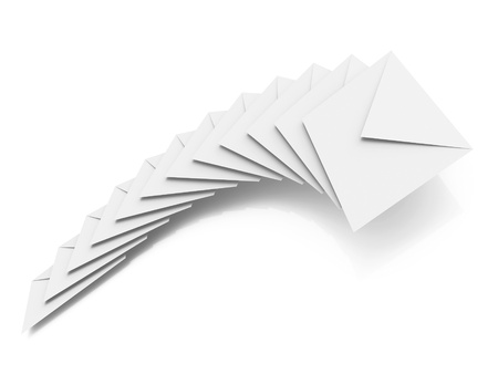 bundle of letters: Batch of clear envelopes isolated on white background with soft shadow