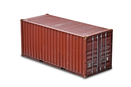 cargo container: Red freight shipping container isolated on white with soft shadow  without names and serial numbers