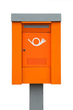 metal post: Orange European metal post box Stock Photo