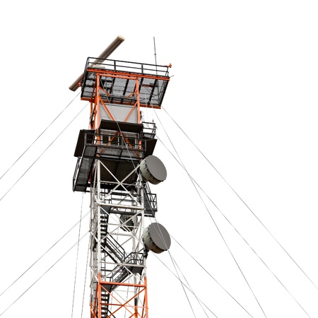 Electronic listening post with satellite and radar devices isolated on white photo