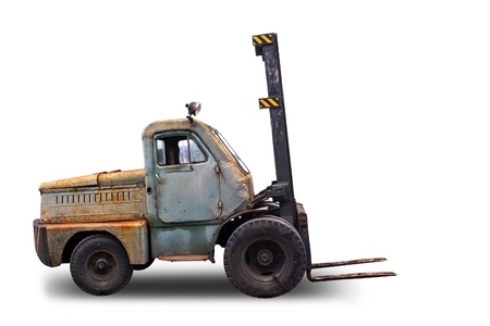 Old rusted Forklift Truck  Photo isolated on white background photo