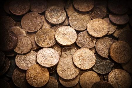 oude munten: Oude munten achtergrond, textuur, Stockfoto