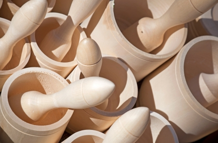 morter: Wooden mortars with pestles Stock Photo