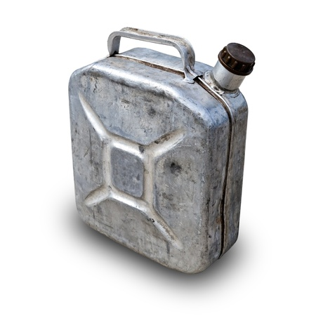 gas can: Old metallic gasoline jerry can isolated on white