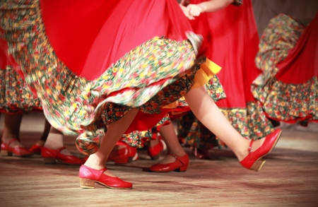 waved: Bright fragment of fast Russian folk dance with red girls waved skirt