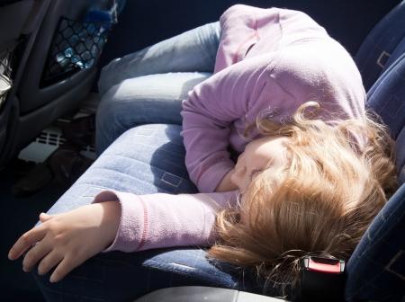 russian car: Little girl, sleeping in the bus
