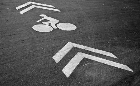kerb: White bicycle lane label and arrows on the asphalt road