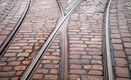 Street railway point on granite cobblestone road Stock Photo - 15658707
