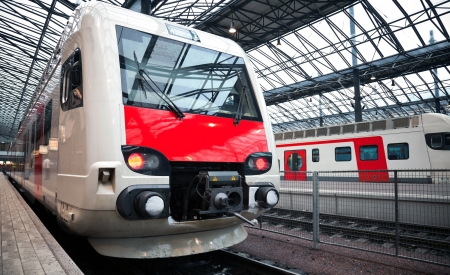 Perspective view of the modern electric express train on a platform Stock Photo - 15670155