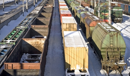 Different types of freight cars on port station in Saint-Petersburg  Russia Stock Photo - 15658764