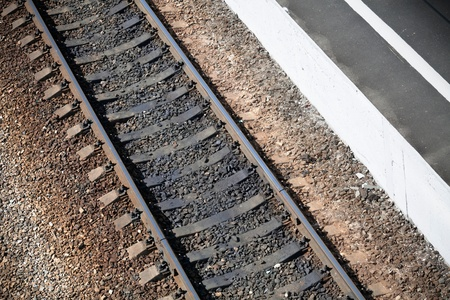 Railroad with station platform texture Stock Photo - 15658682