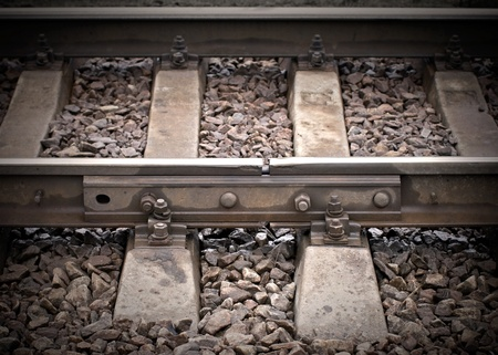 right path: Closeup of an old railway junction with gap