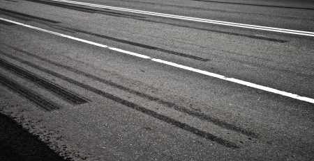 Emergency braking tracks on the highway photo