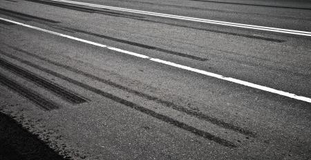 emergency braking: Emergency braking tracks on the highway