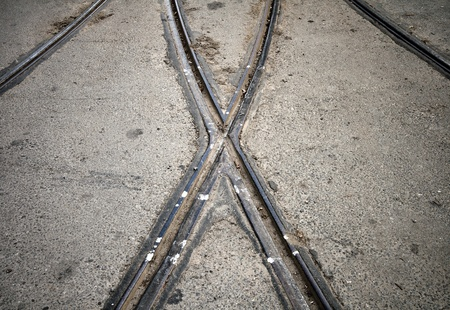 Abstract view  X shape Street railway point Stock Photo - 15658688