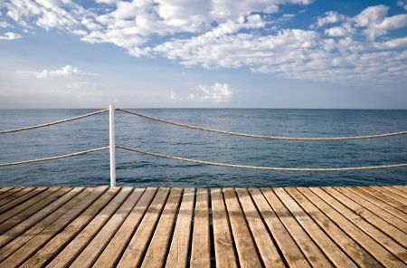 dive trip:   On the wooden pier with railings  Mediterranean sea, Alanya, Turkey