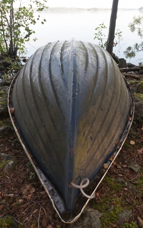 Old rowing Boat inverted on the lake coast in the forest photo