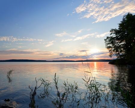 Coastal morning landscape  Saimaa lake, Finland photo