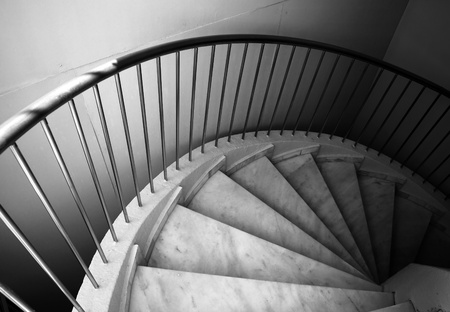 footstep: Ten footstep on spiral ladder Stock Photo