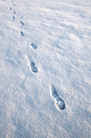 Approaching footprints in the snow photo