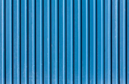 ridged: Vertical ridged blue painted metal wall texture Stock Photo