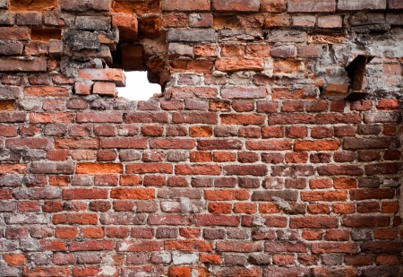 Vintage detailed brick wall texture with hole photo