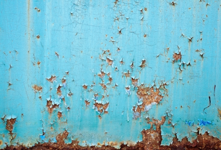 Rusted blue painted metal wall  Detailed photo texture Stock Photo