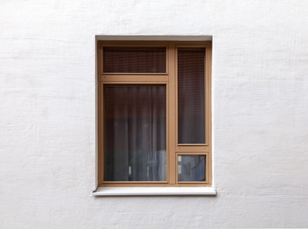 Texture of a modern window on the white wall Stock Photo - 15840934